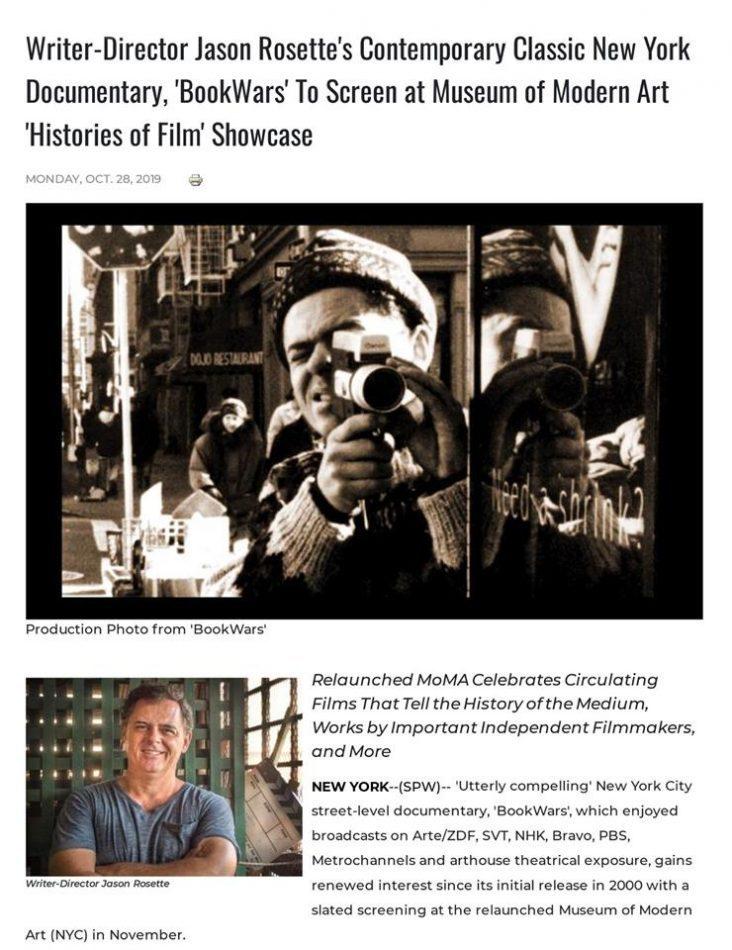 Jason Rosette's contemporary classic New York documentary, 'BookWars', screening at Museum of Modern Art in New York City.